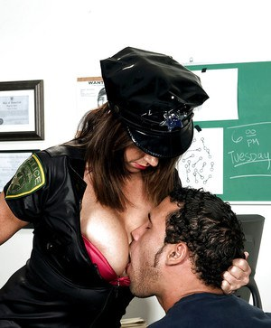 Busty uniform hardcore sex in the police station with Angelina Verdi.