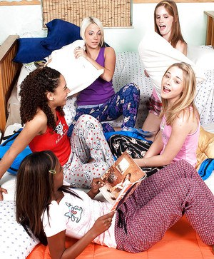 Hot lesbian orgy with two ebony and three white teen girlies