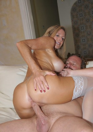 Blindfolded milf in stockings getting dicked and jizzed well