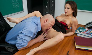 Hot college teacher Charity Bangs drilled hardcore on her desk