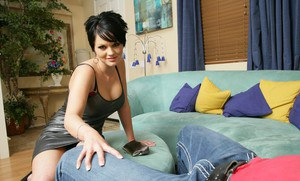 Busty short haired wife Cassidy Lynn fucked on the couch like a whore