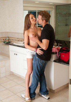Luscious teen with perfect tits Amy Brooke gets banged in the bathroom