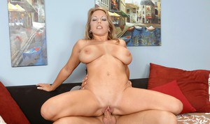 Busty MILF Amber Lynn Bach gets a huge cock for sucking and fucking