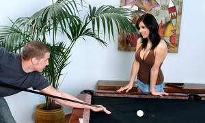 Horny teen with big round boobs Beverly Hills fucking on the pool table