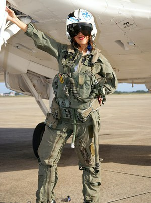 Sizzling mature babe Roni strips from military air force uniform