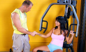 Sporty asian babe Gianna Lynn denudes big tits and mounting a huge dick