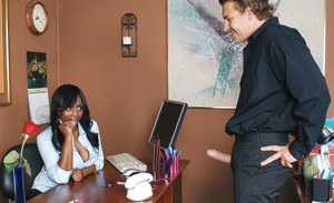 Black office secretary Jada Fire gets her wet brown pussy shafted hard