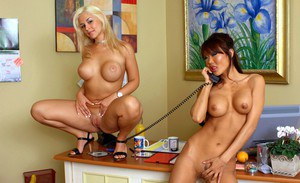 Asian office lady Lucy Lee and her co-worker Sarah Vandella stripping