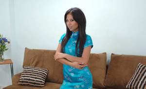 Luscious asian teen Nyomi Marcela strips from cute lace lingerie