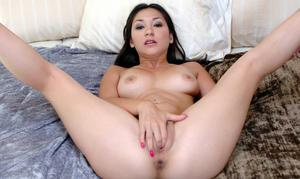 Fervent asian babe Roxy Jezel fingering tight pussy and showing butt