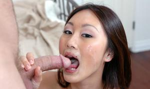 Asian cocksucker Evelyn Lin fucking stiff dong with her shaved slit