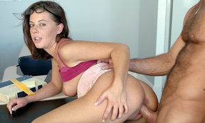 Shapely coed in glasses Penny Flame fucking and scoring cum on her face