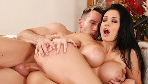Sexy delivery girl Aletta Ocean denudes hooters from uniform and fucks