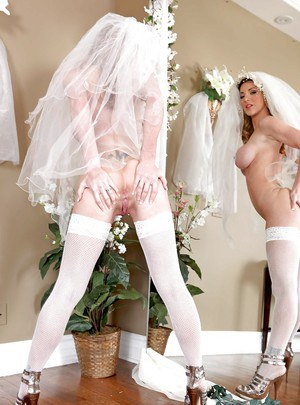 Busty wife Kayla Paige in brides uniform is craving for sex