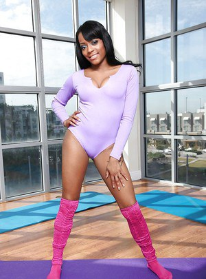 Black babe Eve Madison with big tits is playing sport naked