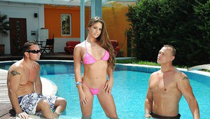Teen with big tits Chaty Heaven gets double penetrated by the pool