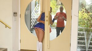 Cheerleader babe Alanah Rae pushes a cock in her wet hole
