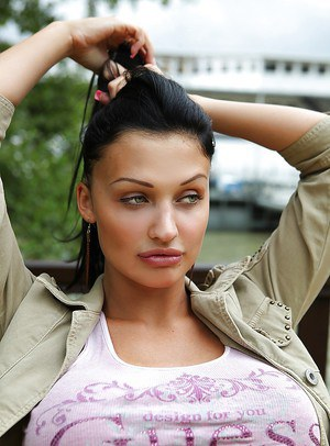 Aletta Ocean is eating out and doesn't miss a chance to show her tits