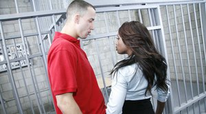 Ebony babe with big juggs Jada Fire has sex with a jailbird's cock