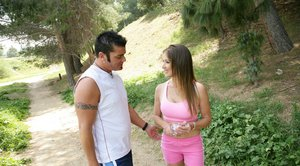 Teen Felony meets a guy outdoor and has her tight cunt fucked hardcore