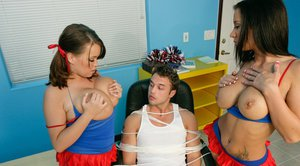 Cheerleader babes Jayden Jaymes and Brandy Talore in a groupsex