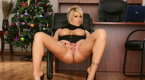 Gorgeous office MILF Brooke Haven posing upskirt and topless