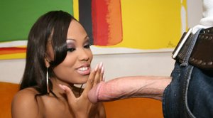 Ebony pornstar Lacey DuValle fucks and takes cum in her mouth