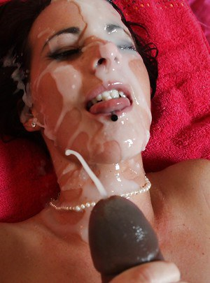 Slutty Mia Valentine has interracial sex and gets bukkake right after
