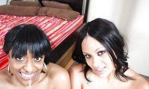 Busty MILFs Ebony and Carmen give a titjob and having hot groupsex