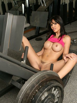 Latin MILF babe Shy Love stripping naked in the gym horny for sex