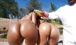 Ebony MILF babes Porche and Chanel riding a monster cock in an orgy