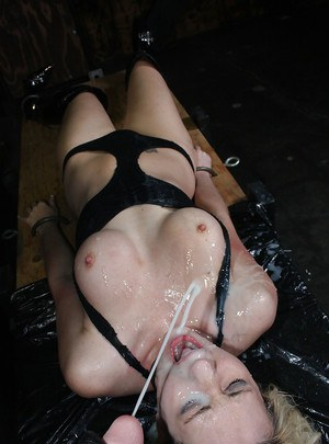 Missy Woods gets trapped in bondage and BDSM tortured with bukkake