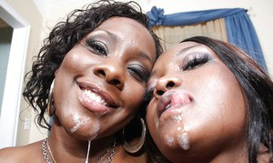 Ebony MILF babes Nina and Ms.Platinum getting hardcore ass fucked