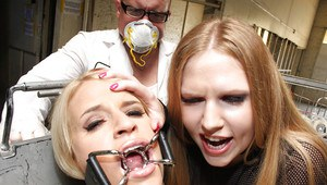 Madison James trapped in bondage is made to suck a cock with bukkake