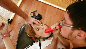 Teen babe Faye Regan gets tied up and fucked with a gag in her mouth