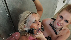 Busty Tatum Pierce gets into BDSM sex with blowjobs and bukkake