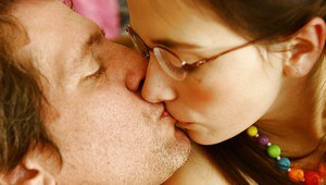 Teen babe in glasses Angel Jay gives a titjob to an oldman