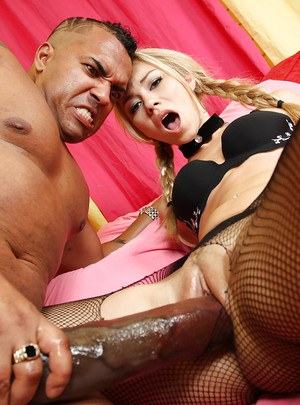 Young amateur Melanie Jayne has dirty interracial sex in pantyhose
