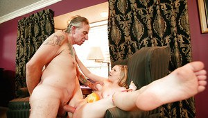 Young Laci Laine shows her ass upskirt and gets banged by an oldman