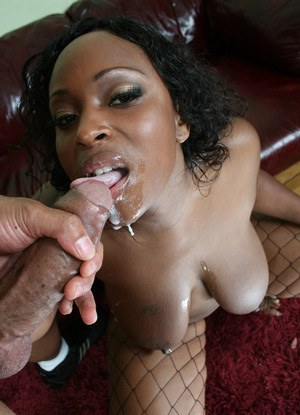 Fatty ebony babe Skyy Black gets a mouthful of cum after fucking