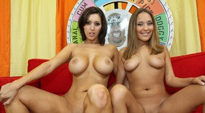 Cuties with big tits Dylan and Sierra getting naked and spreading legs
