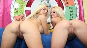 Rachel and Jayda with big tits and booties spreading pussies