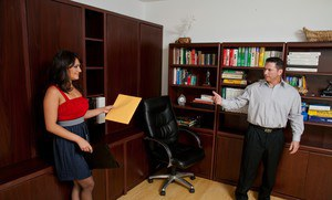 Latina MILF babe Charley Chase strips in the office for hardcore fuck