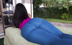 Fatty ass of beautiful milf Catalina posing outdoor looks great