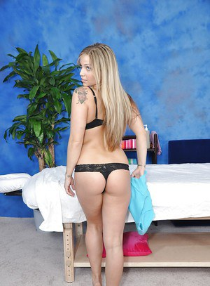 Blond teen with bubble butt stripping and posing provocatively