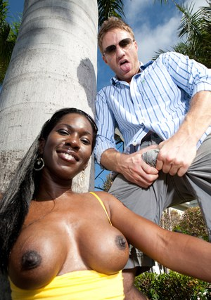 Black babe with big round tits Lucia Brixton getting screwed hardcore