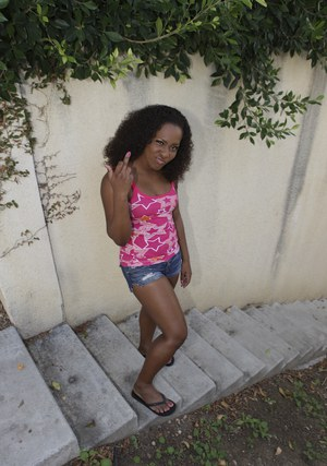 Black girl slips out of shorts and exposes her fabuous ass