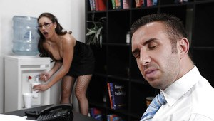 Asian babe with big tits Miko Lee gets her pussy licked in the office