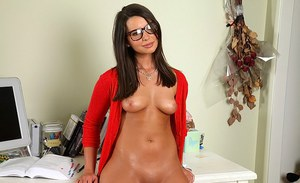 Horny teen Sally Charles wears glasses, making this babe so seductive