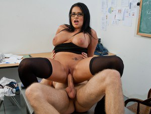Booming MILF teacher in glasses Lacie James fucked in the class